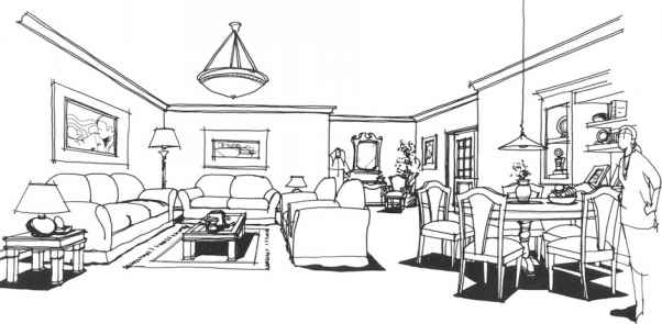 Figure 5.25A A. Illustration Of An Interior Using Normal View One Point  Perspective. Part 68