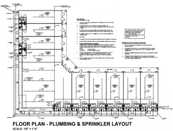 Figure Floor Plan Showing Plumbing And Sprinkler Layout