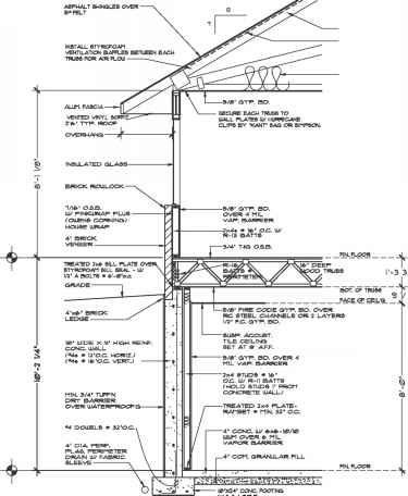 Wood Construction Section Drawing