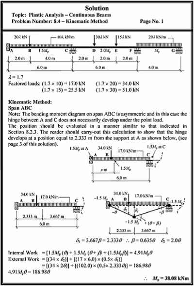 Solutions Plastic Analysis Continuous Beams Structural